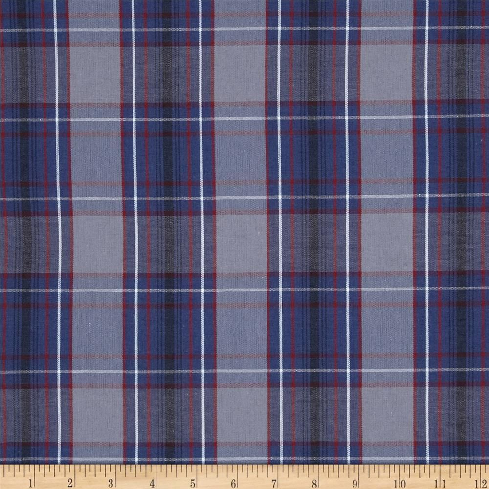 Poly/Cotton Uniform Plaid Blue/Red/Gray | Fabric I Like ...