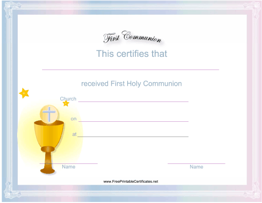 great for churches and eucharistic ministers this free printable first communion certificate has a picture of the bread and wine
