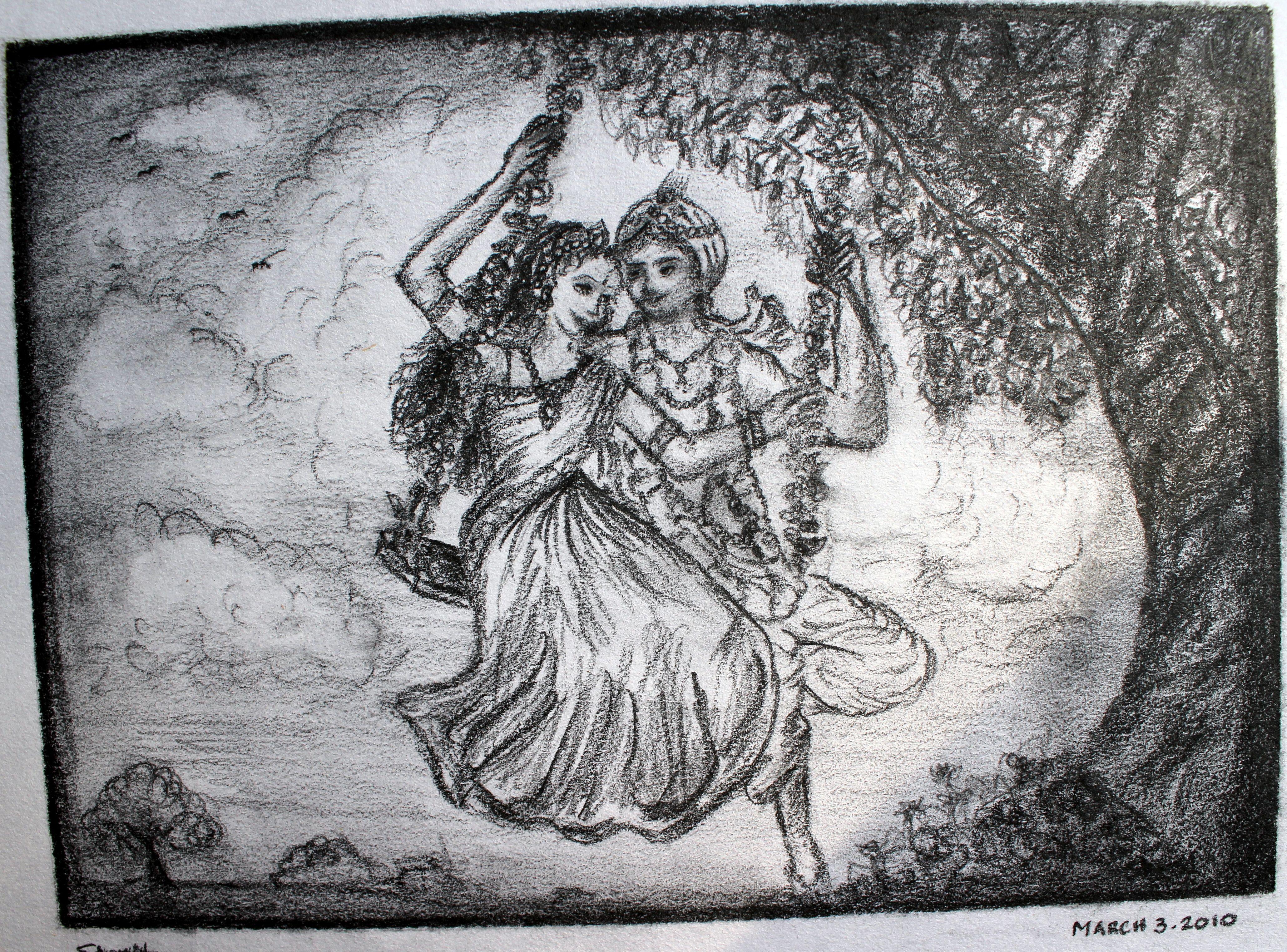 Radha Krishna On Swings Sketch | My Artwork | Pinterest | Krishna Sketches And Artwork