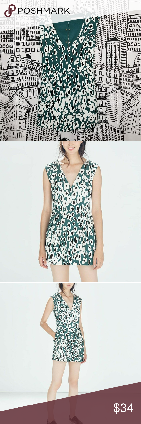 89fdb570952e Zara Printed Playsuit Cutesy little romper Dress on top with shorts on  bottom Print looks like