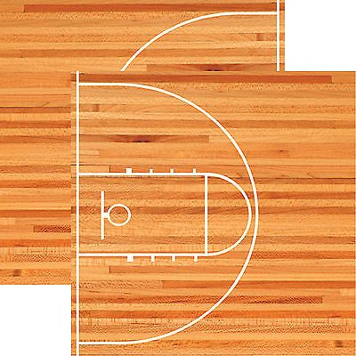 2pc Scrapbooking Paper BASKETBALL Reminisce HARDWOOD 12x12 Dbl-Sided