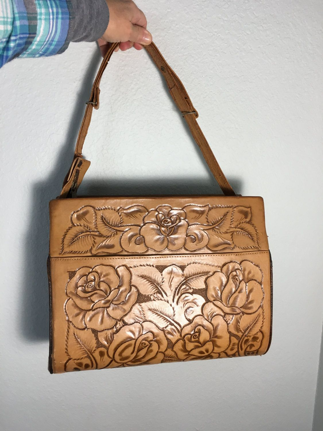 Vintage Hand Tooled Fl Purse Large Leather Shoulder Bag Made In Mexico Festival Hippie Boho Handbag By Vintagecrazy On Etsy