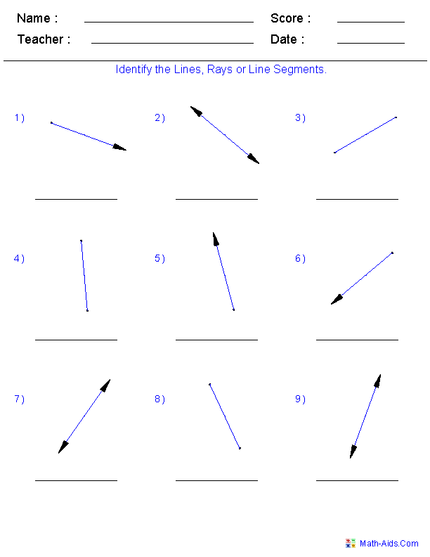 Identify Lines Rays And Line Segments Places To Visit Math