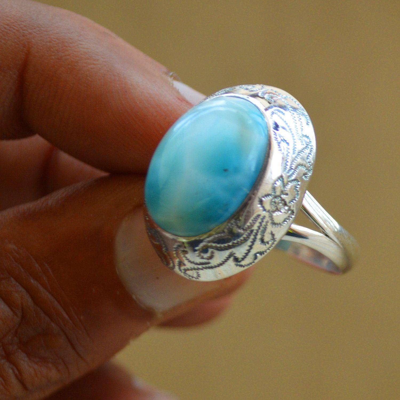 Larimar Ring Blue Larimar Gemstone Ring Bohemian Ring 925sterling Silver Ring Dominican Repub Unique Diamond Rings Vintage Diamond Rings Silver Jewelry Fashion