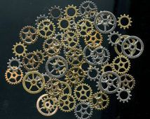 Steampunk Gears Charms Buttons 1oz 50-60 Pieces Mixture Assortment Mix Antique Bronze, Antique Gold, Silver, Gold Beautiful