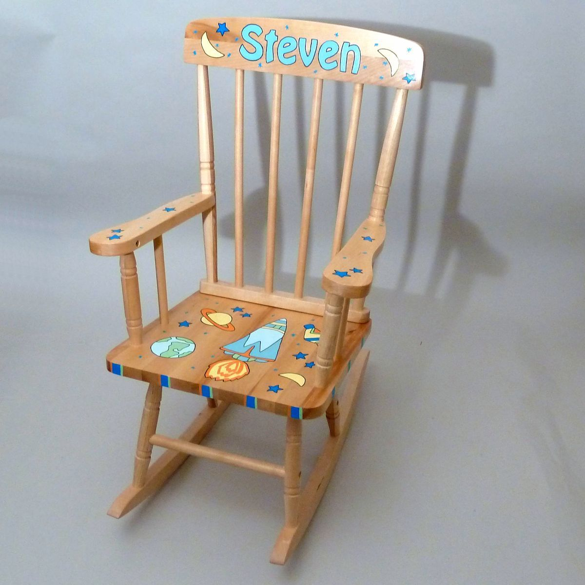 Personalized Hand Painted Kids Natural Wood Rocking Chair Rocking Chair Wood Rocking Chair Chair