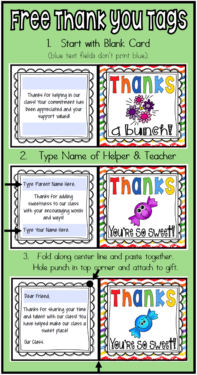 Free Editable Thank You Cards Tags For Your Class Volunteers And