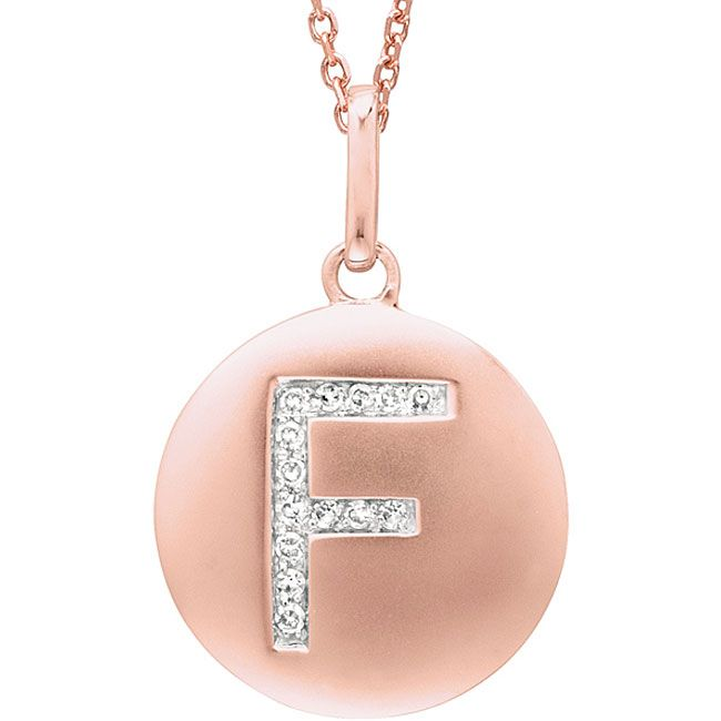 14k Rose Gold Diamond Initial Monogram Disc Necklace (F), Women's, Size: 18 Inch, White