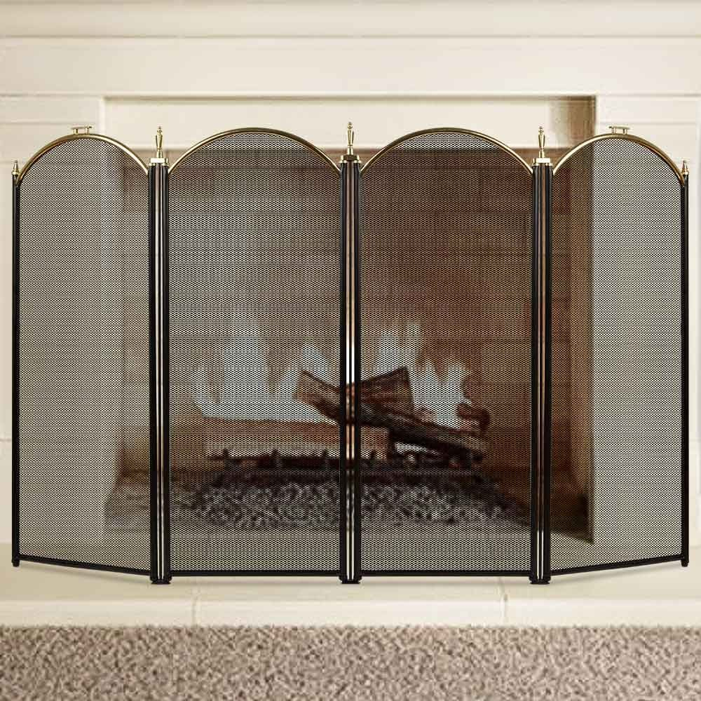 large gold fireplace screen 4 panel ornate wrought iron black metal rh pinterest com
