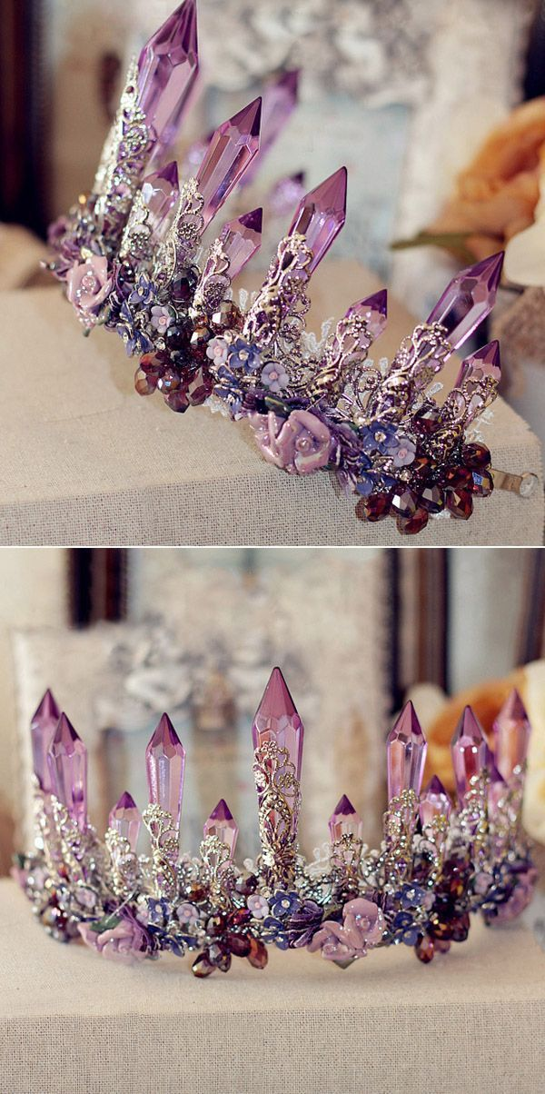 Photo of Baroque Amethyst Bridal Crown EWAHP051 as low as $100