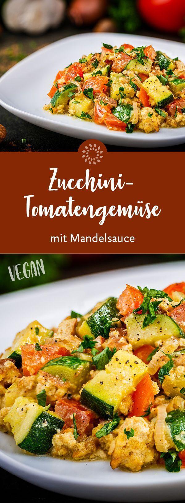 Zucchini-Tomatengemüse mit Mandelsauce #vegetarischerezepteschnell