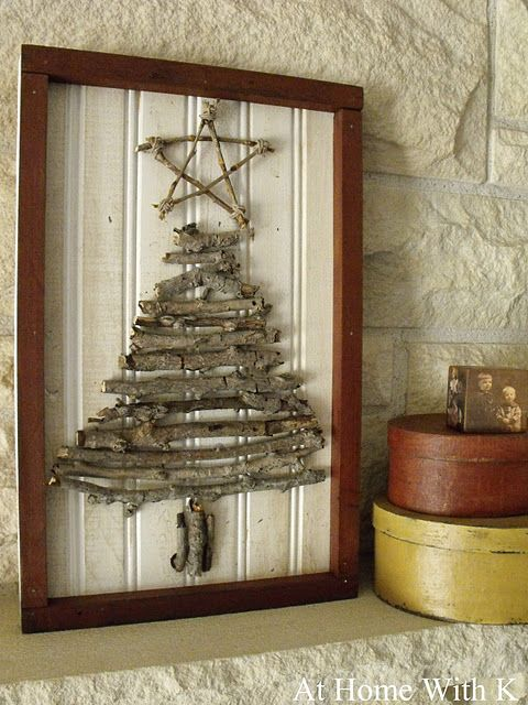 Rustic Christmas Tree Twig Art. Love this rustic look and its simple too ;)