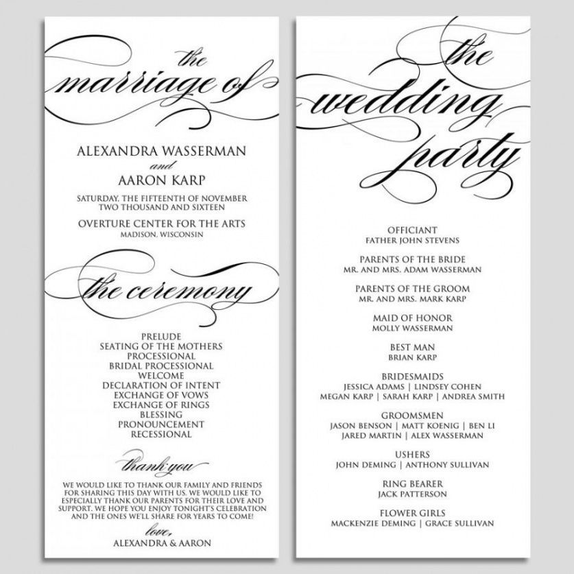 Printable Wedding Program Template Wedding Program Printable Wedding In 2020 Ceremony Program Template Wedding Program Template Free Printable Wedding Program Template