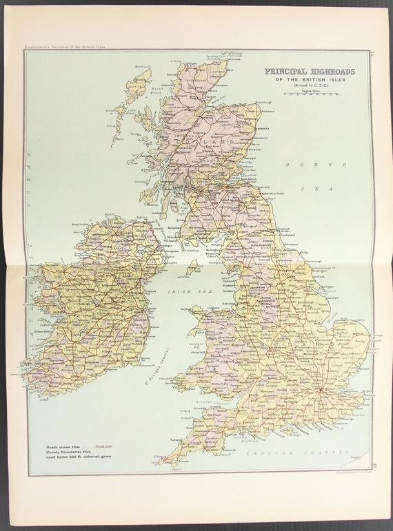 1904 British Isles Road Map, Antique folding Colour Map by Bartholomew, Pastel Colours #britishisles