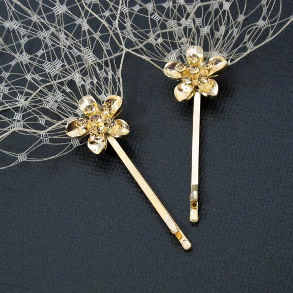 Champagne Color Bandeau Style Veil 9 inch French Net on Rhinestone Bobby Pins on Etsy, $32.00