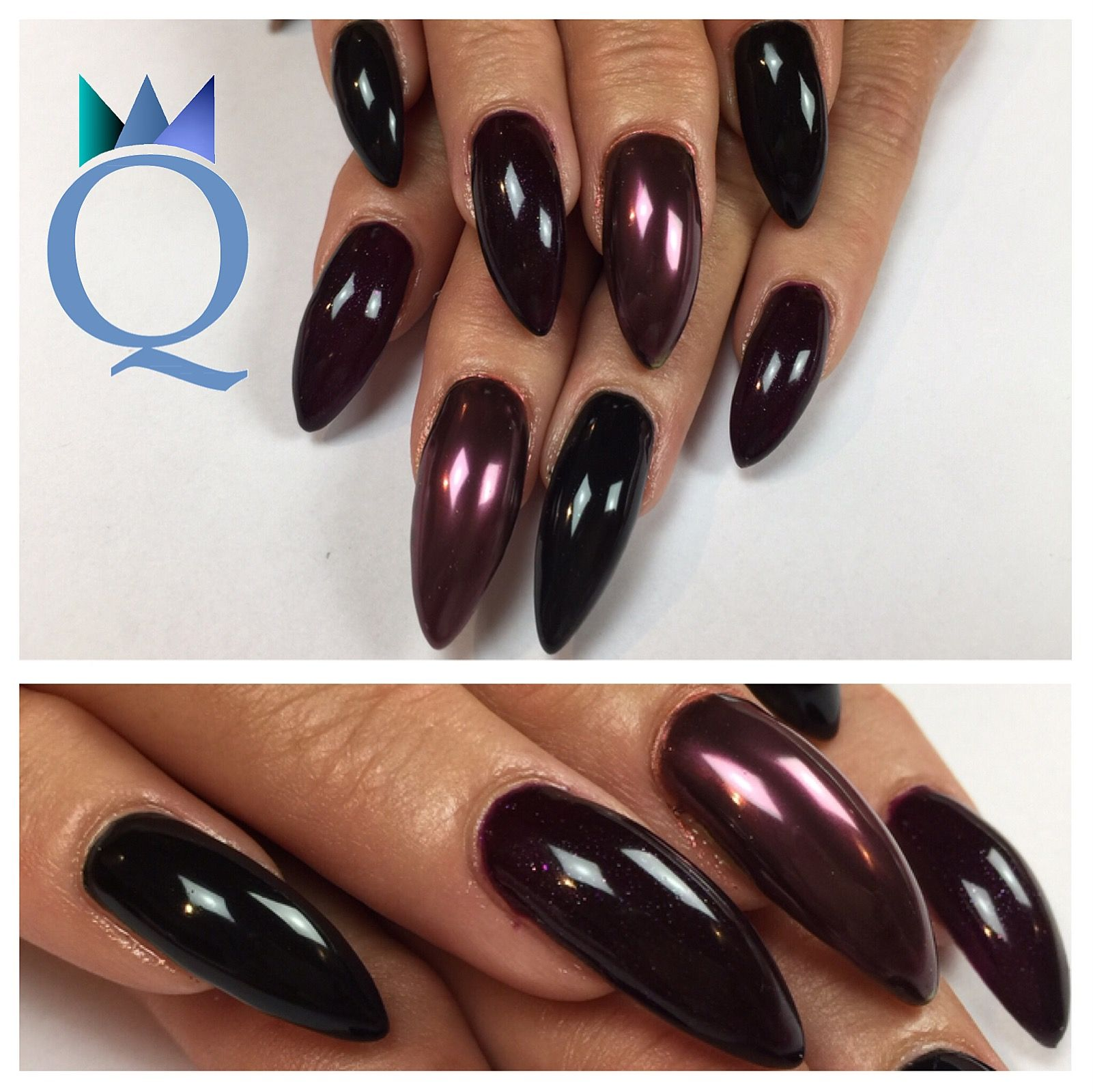 stilettonails #gelnails #nails #darkpurple #red #chrome #black ...