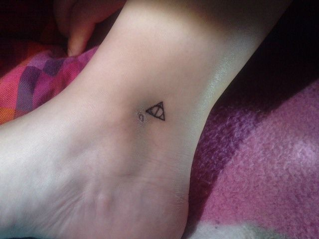 Harry Potter Deathly Hallow Ankle Tattoo Tattoos Ankle Tattoo Inspirational Tattoos