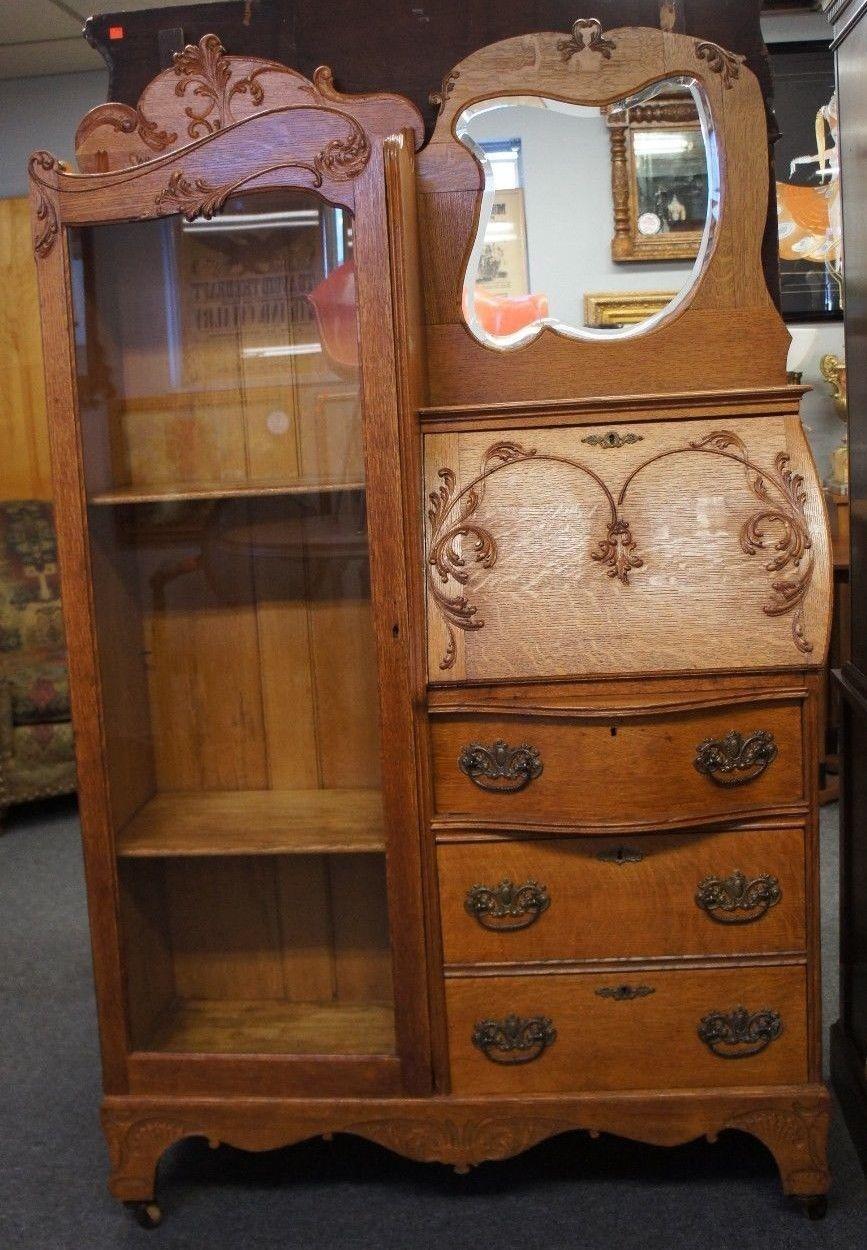 early 20th c antique oak larkin secretary desk bookcase mirrored rh pinterest com