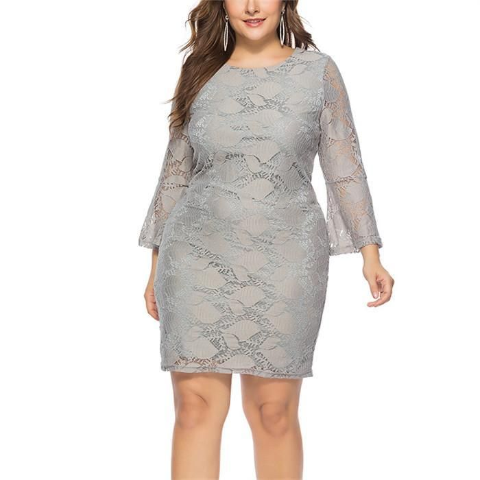 Fashion Plus-Size Long-Sleeved Lace Round Neck Mini Dress in ...