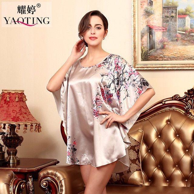 Plus Size Silk Lady Sleepwear Dressing Gown Female Fashion