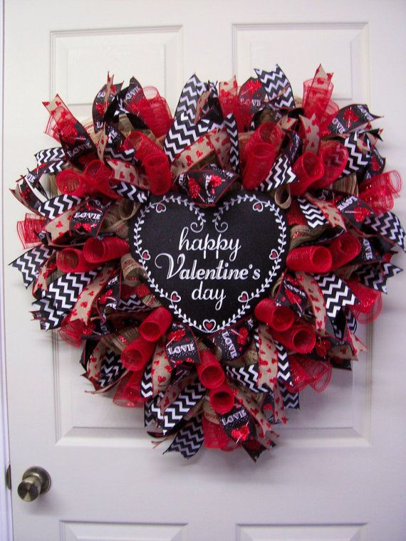 Happy Valentine S Day Heart Shape Wreath Chalkboard Valentine Mesh