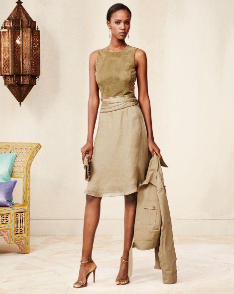 Suede-Silk Estella Dress - Collection Apparel Evening Dresses - RalphLauren.com