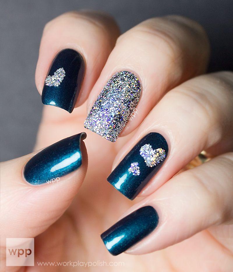 Glittery mani using KISS Nail Artist Paint & Stencil Kit Stencils ...