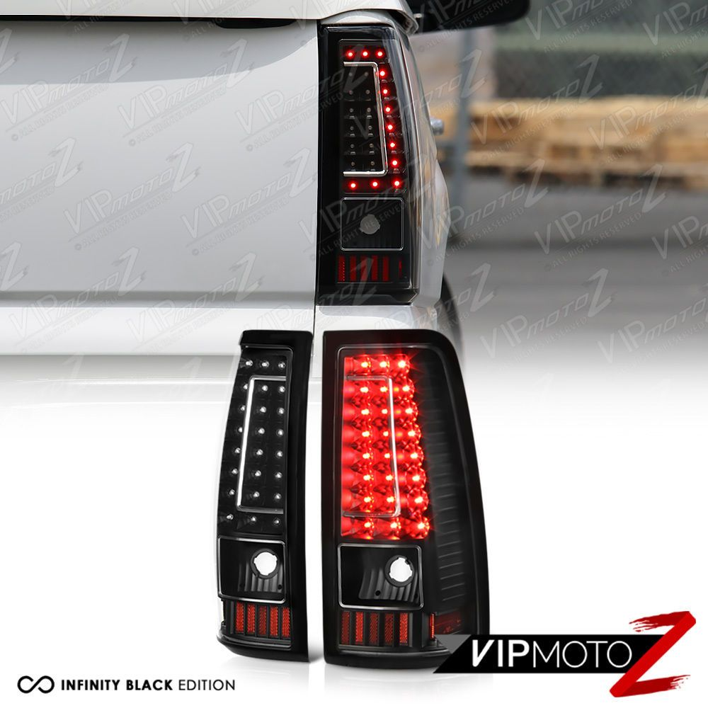 2003 2006 chevy silverado 1500 2500 3500 c shape black led rear tail lights [ 1000 x 1000 Pixel ]