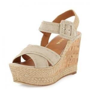 Prada Pomice Cork Wedge Sandal - Suede