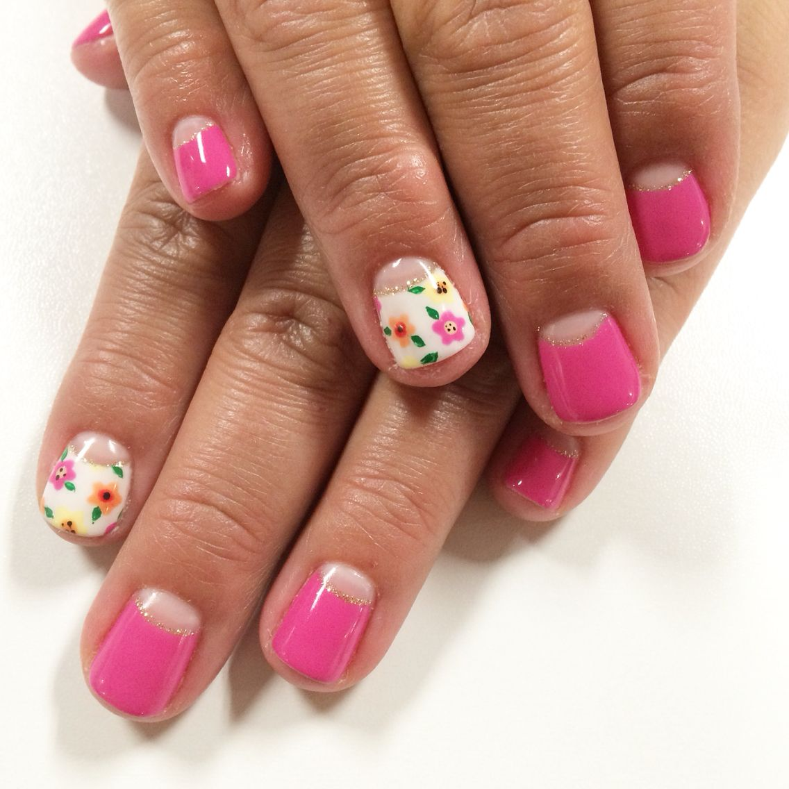 Half Moon Negative Space Spring Flower Nail Art I Nailed It