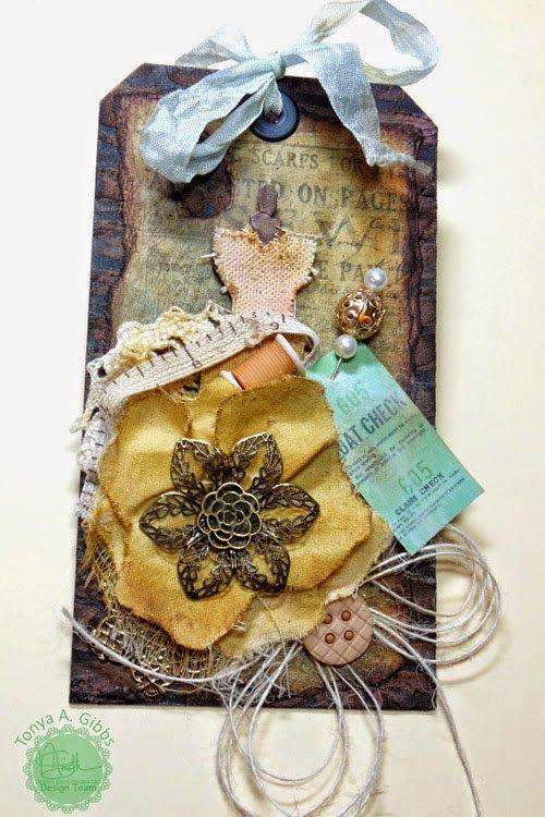 Shabby Fabric Flower Tutorial by Tonya Gibbs::www.MarionSmithDesigns.blogspot.com