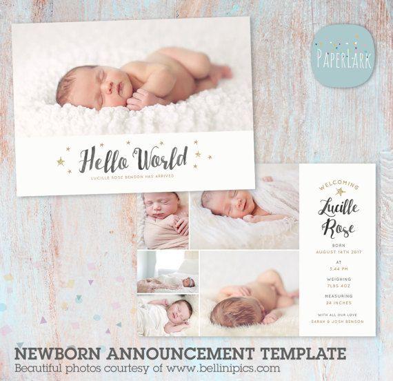 Birth announcement templateNewborn Baby Card Announcement