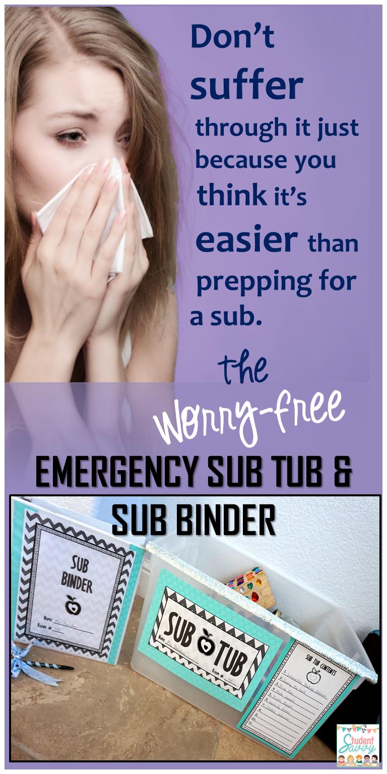Substitute Binder u0026 Sub Tub Editable