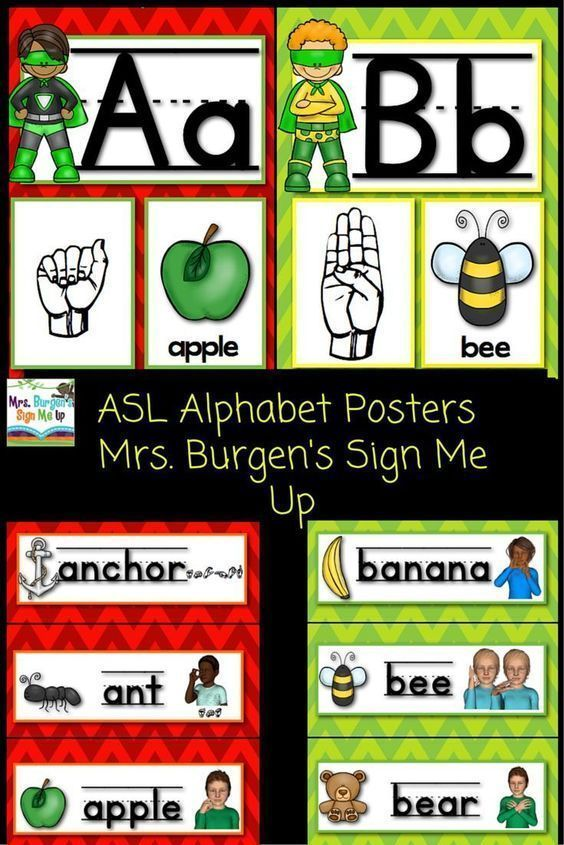 american sign language superhero alphabet posters and word wall for rh pinterest com