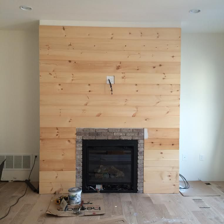 7 Wide V Board Pine Panel That Has A Tongue And Groove Since The One Side Has A Beaded Trim Down The Cent Diy Shiplap Fireplace Diy Shiplap Shiplap Fireplace