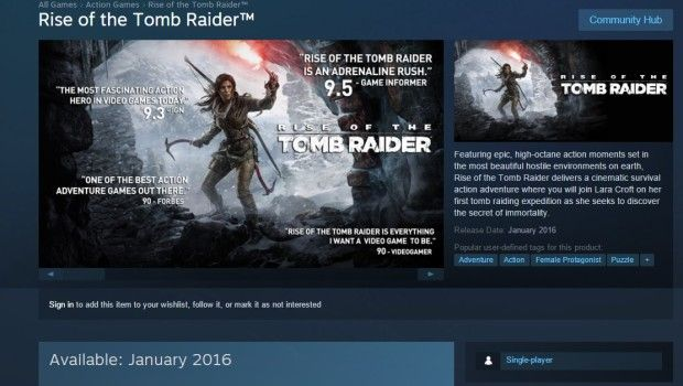 PC version of Rise of Tomb Raider will release in January 2016