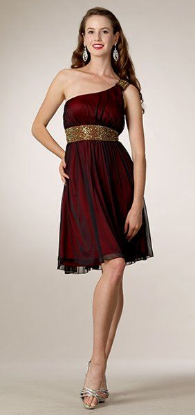 Red and Black Strapless Knee Length Dress