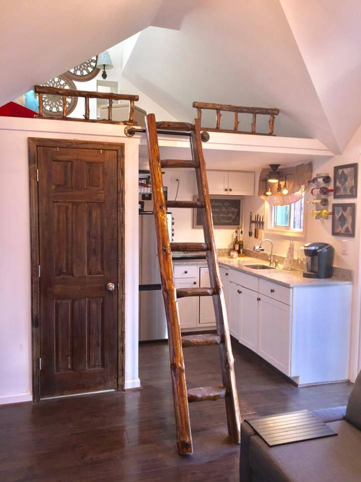 rustic pine library ladder loft half log cabin attic wood wooden rh pinterest com