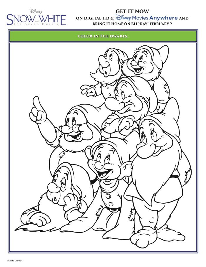 Snow White and The Seven Dwarfs Coloring Page | Printable Coloring ...