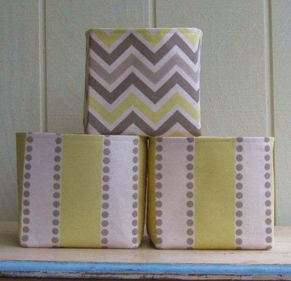 Fabric Storage Bins  Yellow  Gray  Off White  Taupe  Chevron  Stripes   Small  Set Of Three | Sewing | Pinterest | Fabric Storage, Taupe And Fabric  Bins