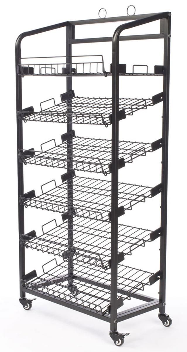 29 W Bakery Display Rack W Wheels 6 Shelves Header Black