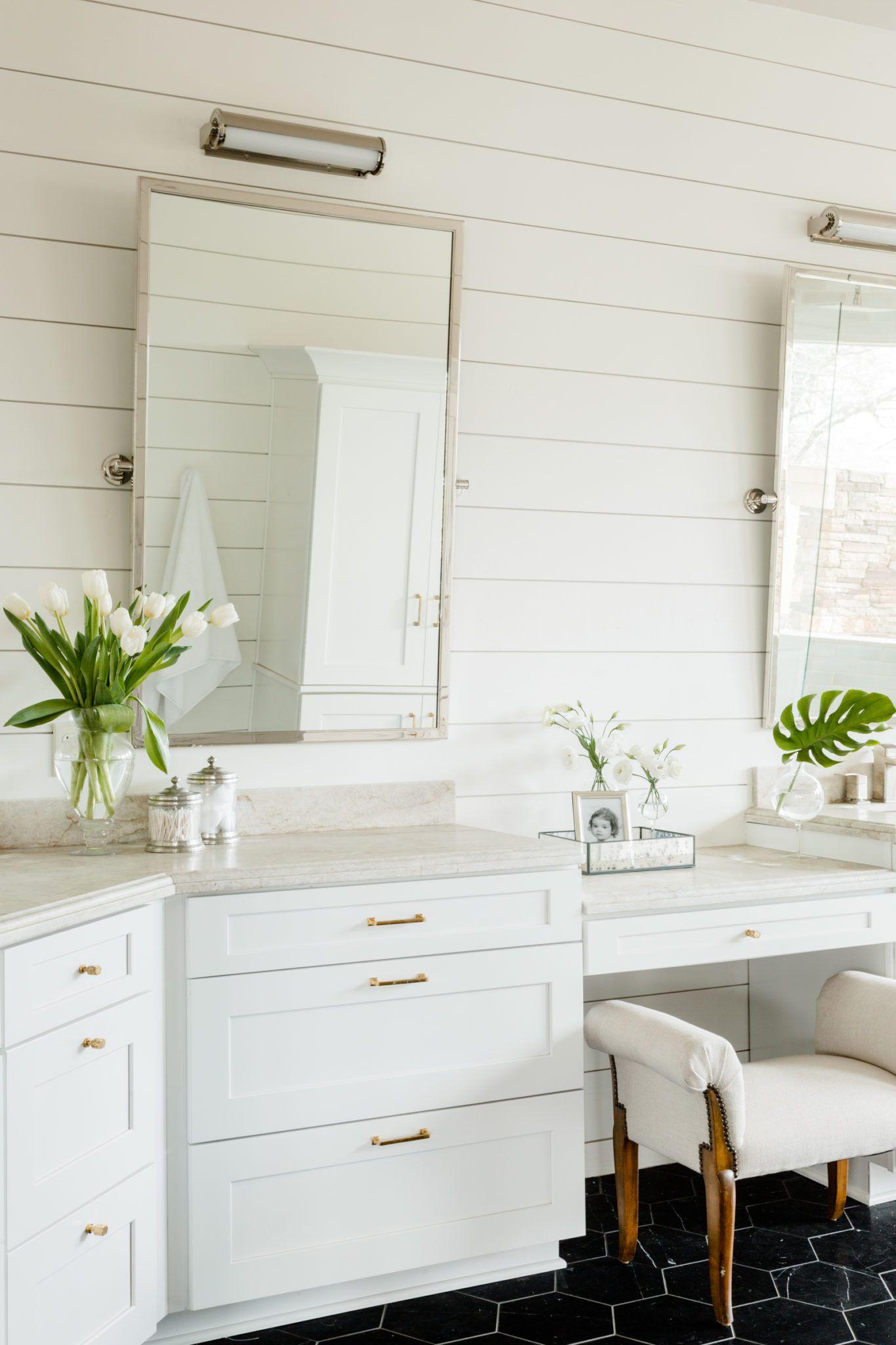 White wood paneled walls + natural light bathroom + white ...