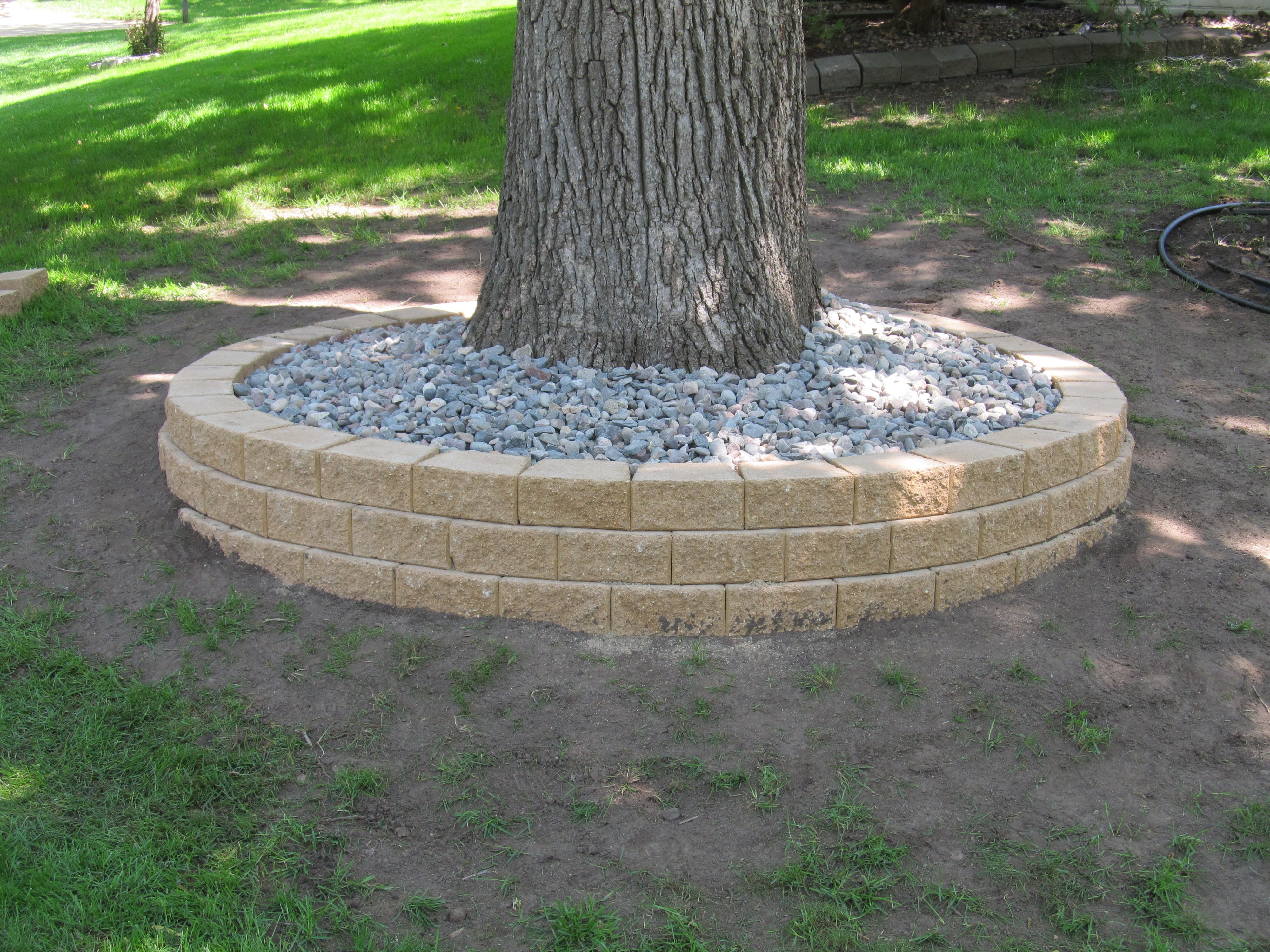Retaining Wall Around A Tree Landscaping Outdoor Gardens Garden Landscaping Planting Flowers