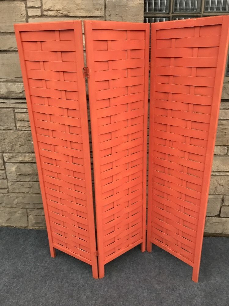 Mid Century Danish Modern Woven Wood Room Divider Screen in Salmon Pink - 64x51 $124.99 #MidCenturyModern #RoomDivider