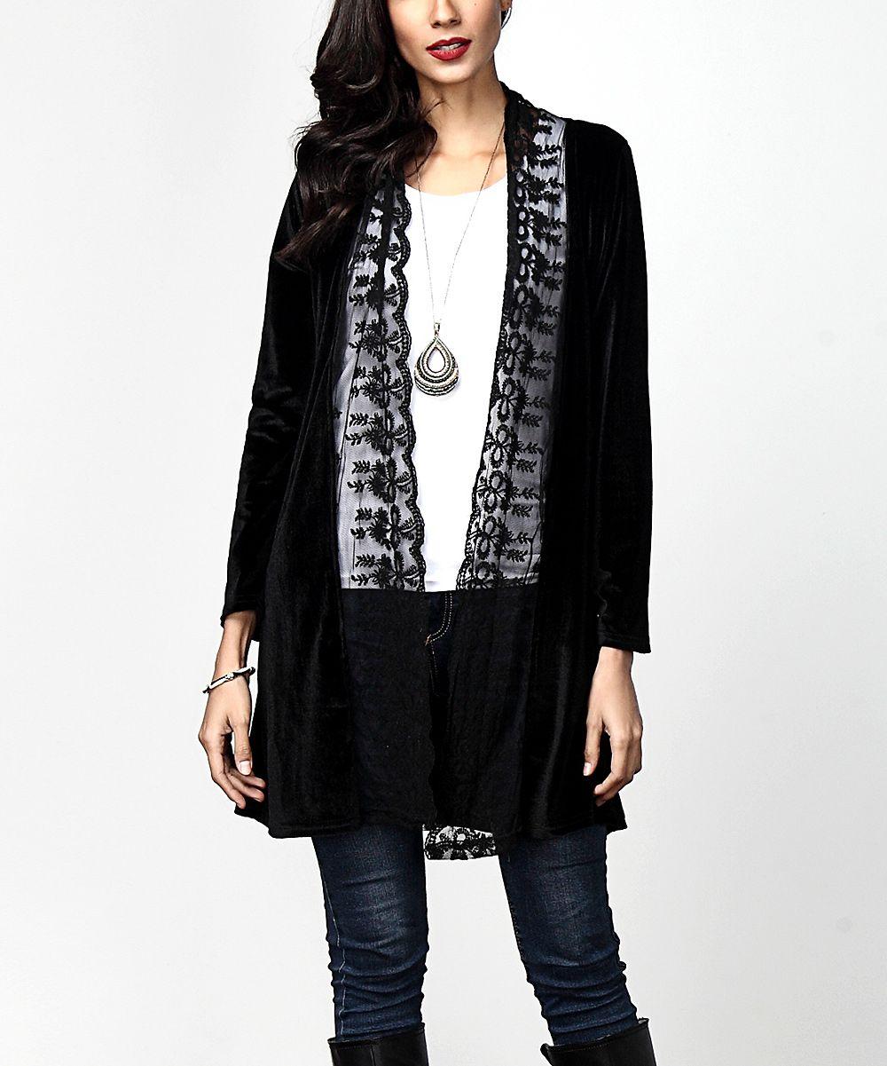 Black Velvet & Lace Open Cardigan | Open cardigan, Black velvet ...
