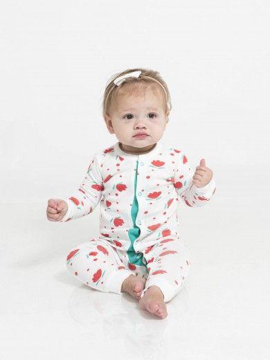 Organic Baby Peyton Sleeper - White / Floral Dot Print