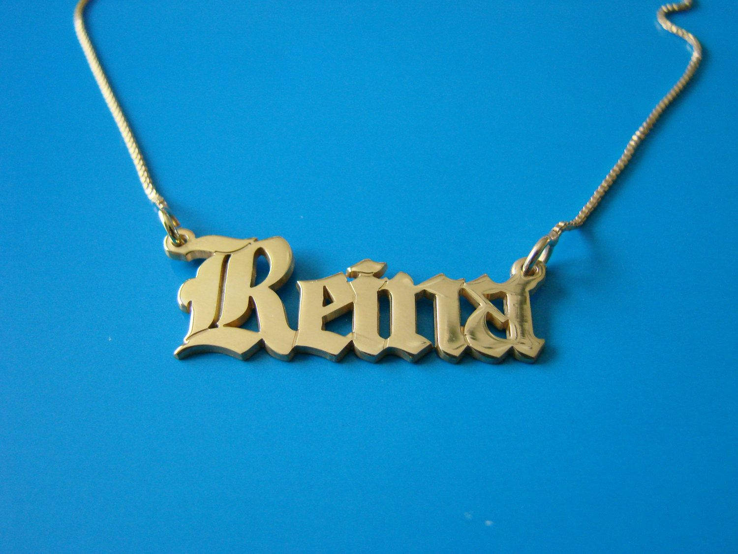 05058518d77d5 Old English style Gold Name Necklace with any by bestnamenecklace ...