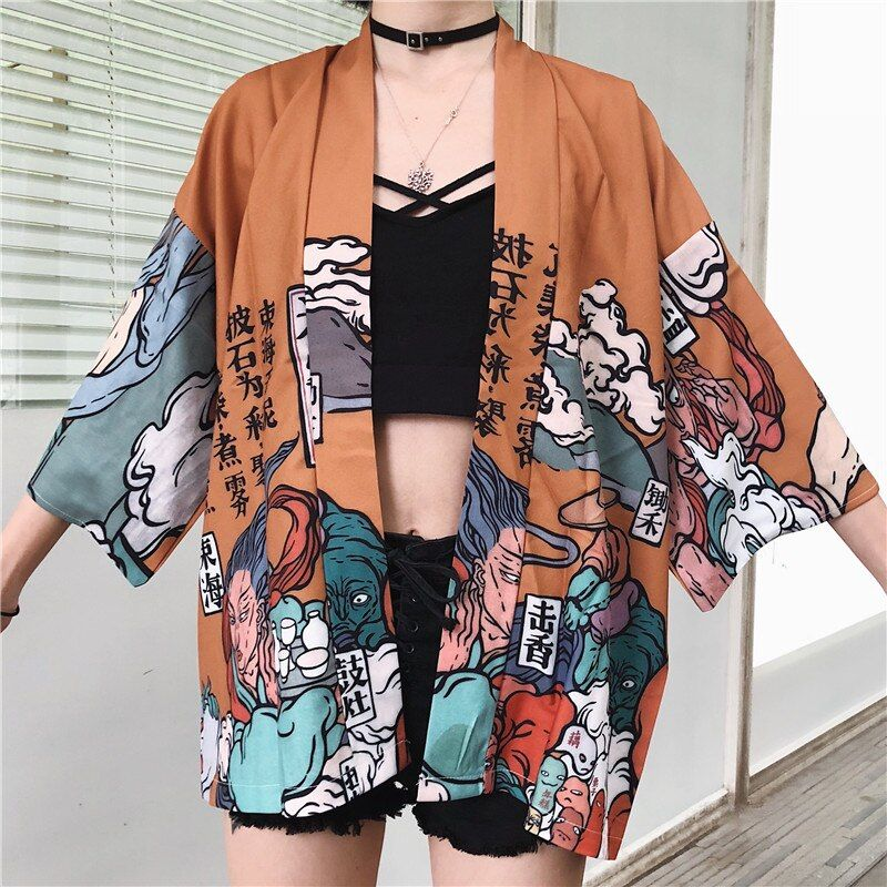 Cardigan Japanese Kimono Cardigan Fashion Loose Dress