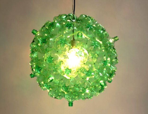 Recycling bottle lamp inspirations pinterest bubble chandelier made from post consumer pet bottles photo mozeypictures Choice Image
