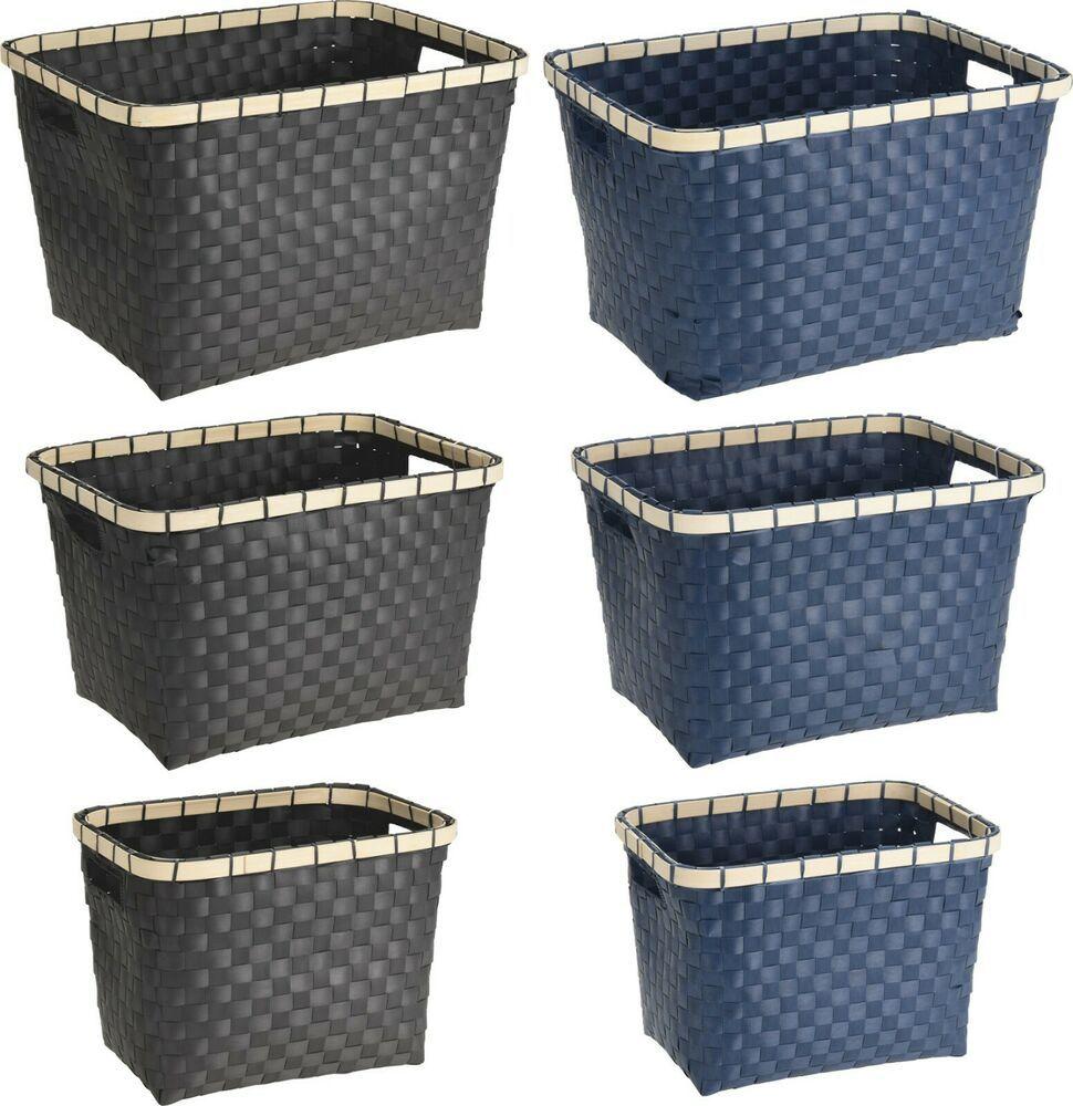 Set Of 3 Traditional Nestable Wicker Style Baskets Storage Basket